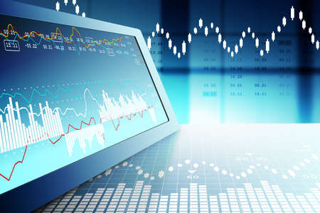 Aktienmarkt Graphen Analyse Standard-Bild