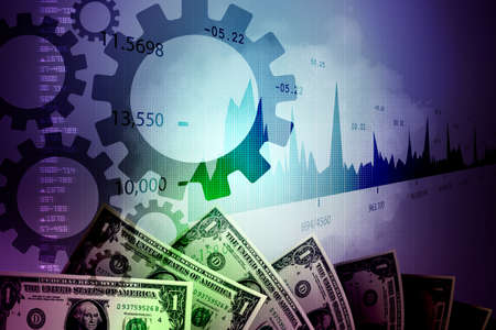 monetary concept: Monetary concept and market analysing graph Stock Photo