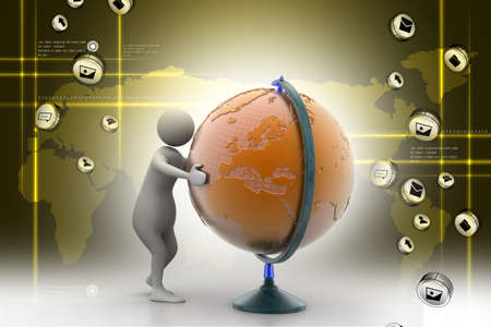 establish: 3d man analysing the globe