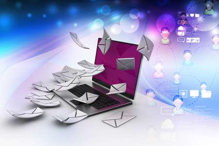 telegrama: Concepto de correo electr�nico. Laptop moderna y el sobre