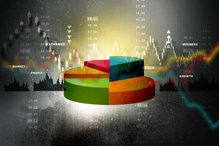 Die Börse-Diagramm mit Kreisdiagramm Standard-Bild - 41522623