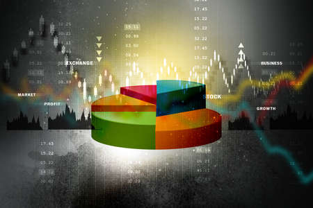 stock market graph: The Stock Market graph with pie chart Stock Photo