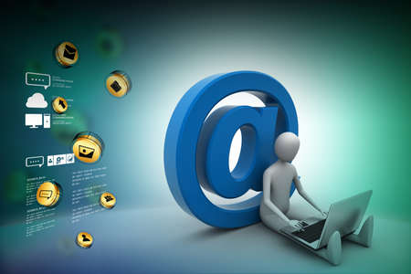 3d person: 3d person with e mail symbol and laptop Stock Photo