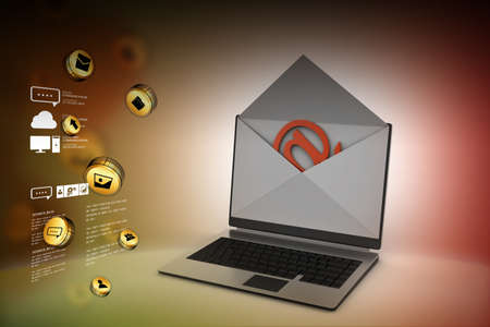 telegrama: Correo electrónico y portátil Foto de archivo