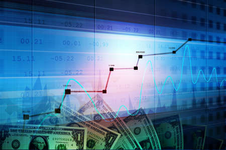 Monetary concept and market analysing graph Stock Photo