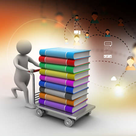 hand truck: 3d man pushing hand truck with books Stock Photo