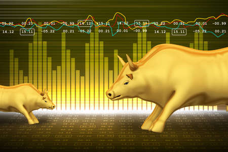 financial symbol: Trading and investing financial symbol with bull