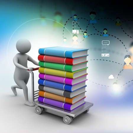 handtruck: 3d man pushing hand truck with books Stock Photo