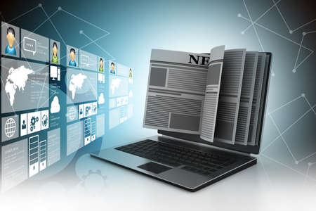 Nachrichten über einen Laptop-Bildschirm-Konzept für Online-Nachrichten Standard-Bild - 42458609