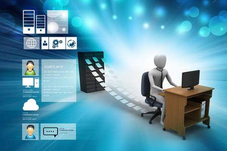 file clerk: 3d clerk working in the office