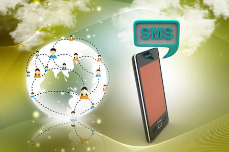 sms: Smart phone with sms sign