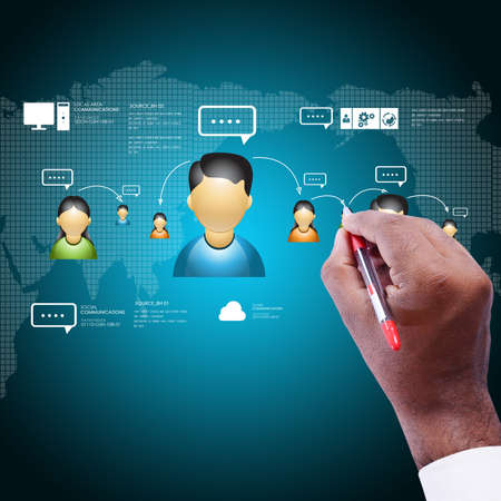 network concept: Man showing social network concept Stock Photo