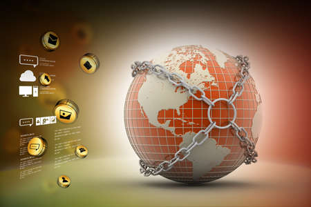 internet safety: Earth globe close in chain Stock Photo