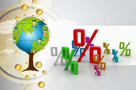 the percentage: Growth percentage Stock Photo