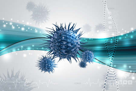 multi color: Moving virus in multi color background