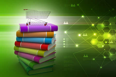 books and trolley in colour background