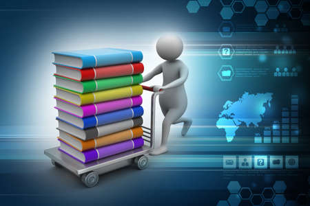 Man with books and trolley in colour background
