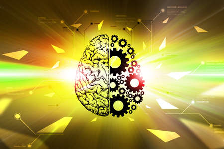 Brain and gear wheels in color back ground Banco de Imagens