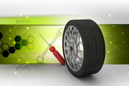 alloy: Tools and parts for car in color background