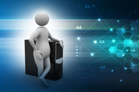 personal data: 3d man with cpu in color background