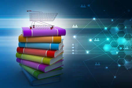traction device: books and trolley in colour background