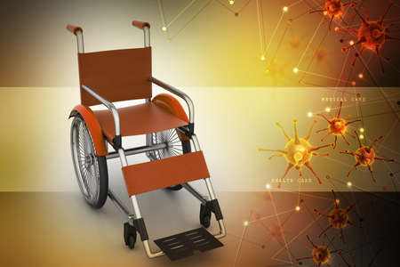 wheel chair: Medical wheel chair with virus  in color background