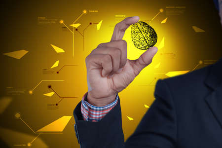 back ground: Man showing brain and gear wheels in color back ground