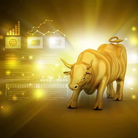 stock market crash: Rising golden business bull in color background