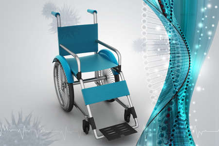 Medical wheel chair in color background