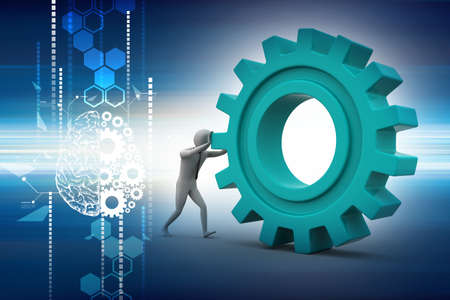 Man pushing gear wheel in color background