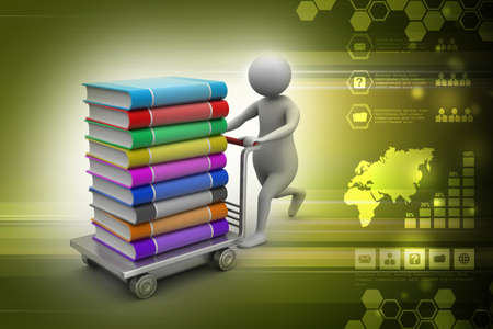 traction device: Man with books and trolley in colour background