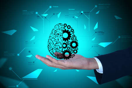 Man showing brain and gear wheels in color back ground