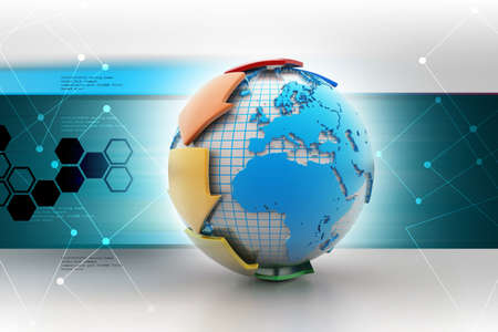 orbital: Globe with communication arrow in color background Stock Photo