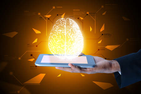 thinking link: Man showing brain on a smart phone in color background