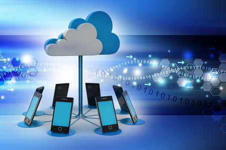 computer cloud: Smart phones network with cloud computing in color background