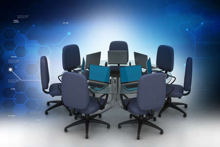surf team: Conference table with laptops in color background