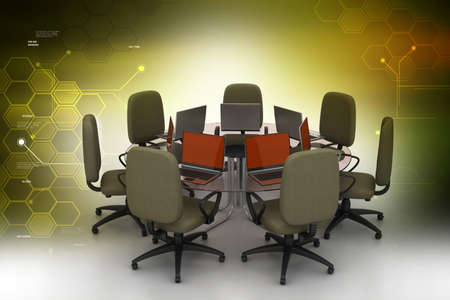 conference table: Conference table with laptops in color background