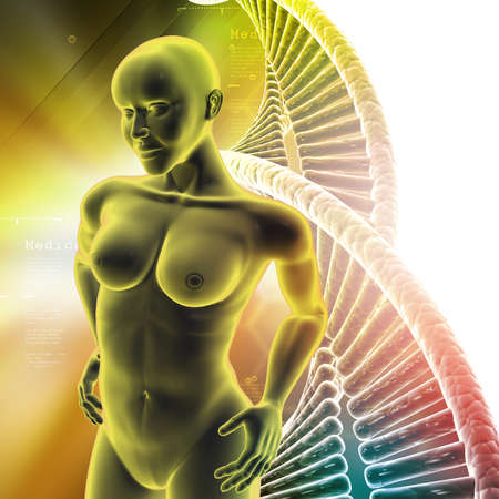ejaculate: Human female anatomy with DNA in color background Stock Photo