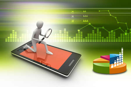 man searching: Business man searching business growth on a smart phone in color background
