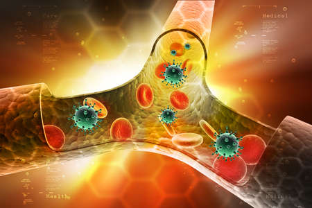 heart muscle cells: Platelets and virus on the vessel in color background Stock Photo