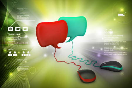 dialog box: Dialog box with mouse in color background Stock Photo