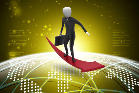 Business man standing on a successive arrow in color back ground