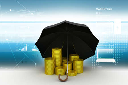 Gold coin with umbrella in color background