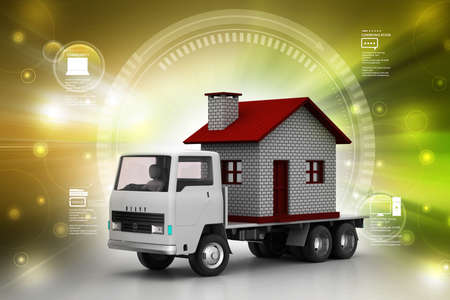 land owner: Home in a truck in color back ground