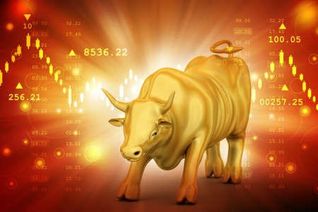 Rising golden business bull in color background
