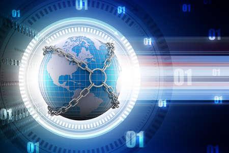 Earth globe close in chain Stock Photo