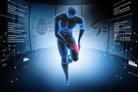 3d man with leg pain Stock Photo