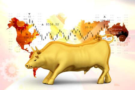Rising golden business bull Stock Photo