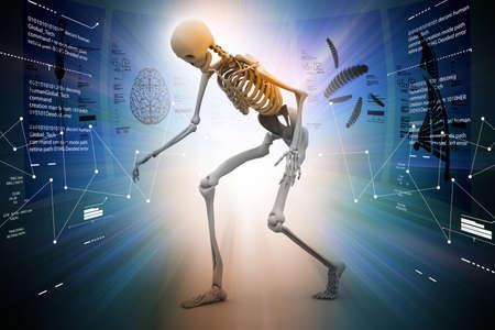 Skelton with virus Stock Photo