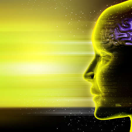 Man head with cosmic energy Stock Photo